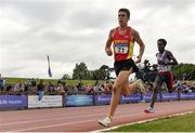 29 July 2018; Ryan Forsyth of Newcastle & District A.C., Co. Down, left, on his way to winning the Senior Men 5000m event, ahead of Hicko Tonosa of Dundrum South Dublin A.C., Co. Dublin, who finished second, during the Irish Life Health National Senior T&F Championships Day 2 at Morton Stadium in Santry, Dublin. Photo by Sam Barnes/Sportsfile