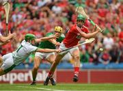 29 July 2018; Séamus Harnedy of Cork has a shot on goal, late in the second half, saved by Limerick goalkeeper Nickie Quaid, as Dan Morrissey, centre, closes in during the GAA Hurling All-Ireland Senior Championship semi-final match between Cork and Limerick at Croke Park in Dublin. Photo by Piaras Ó Mídheach/Sportsfile