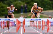 29 July 2018; Sarah Lavin of U.C.D. A.C., Co. Dublin, right, on her way to winning the Senior Women 100mH event ahead of Kate Doherty of Dundrum South Dublin A.C., Co. Dublin, who finished second, during the Irish Life Health National Senior T&F Championships Day 2 at Morton Stadium in Santry, Dublin. Photo by Sam Barnes/Sportsfile