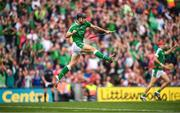 29 July 2018; Pat Ryan of Limerick celebrates after scoring his side's third goal during the GAA Hurling All-Ireland Senior Championship semi-final match between Cork and Limerick at Croke Park in Dublin. Photo by Stephen McCarthy/Sportsfile