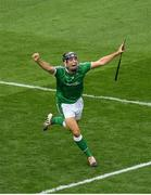 29 July 2018; Pat Ryan of Limerick celebrates after scoring his side's third goal during the GAA Hurling All-Ireland Senior Championship semi-final match between Cork and Limerick at Croke Park in Dublin. Photo by Brendan Moran/Sportsfile