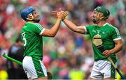 29 July 2018; Mike Casey, left, and Seán Finn of Limerick celebrate at the final whistle of the GAA Hurling All-Ireland Senior Championship semi-final match between Cork and Limerick at Croke Park in Dublin. Photo by Ramsey Cardy/Sportsfile
