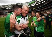 29 July 2018; Limerick manager John Kiely and Declan Hannon, left, celebrate following the GAA Hurling All-Ireland Senior Championship semi-final match between Cork and Limerick at Croke Park in Dublin. Photo by Stephen McCarthy/Sportsfile