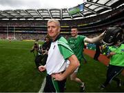 29 July 2018; Limerick manager John Kiely and Declan Hannon, right, celebrate following the GAA Hurling All-Ireland Senior Championship semi-final match between Cork and Limerick at Croke Park in Dublin. Photo by Stephen McCarthy/Sportsfile