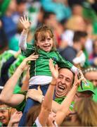 29 July 2018; Limerick supporters, in the Cusack Stand, including four and a half year old Oonagh Shannon, from Ardagh, and her dad, Michael, celebrate a late score during the GAA Hurling All-Ireland Senior Championship semi-final match between Cork and Limerick at Croke Park in Dublin. Photo by Ray McManus/Sportsfile