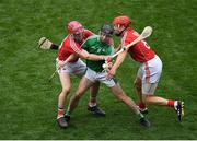 29 July 2018; GraemeMulcahy of Limerick is tackled by Daniel Kearney, left, and Bill Cooper of Cork during the GAA Hurling All-Ireland Senior Championship semi-final match between Cork and Limerick at Croke Park in Dublin. Photo by Brendan Moran/Sportsfile