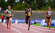 29 July 2018; Gina Akpe-Moses of Blackrock A.C. , Co. Louth, centre, on her way to winning the Senior Women 100m event ahead of Niamh Whelan of Ferrybank A.C., Co. Waterford, left, and Kate Doherty of Dundrum South Dublin A.C., Co. Dublin, during the Irish Life Health National Senior T&F Championships Day 2 at Morton Stadium in Santry, Dublin. Photo by Sam Barnes/Sportsfile