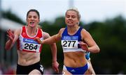 29 July 2018; Molly Scott of St. Laurence O'Toole A.C., Co. Carlow, dips for the line ahead of Sarah Murray of Fingallians A.C., Co. Dublin, whilst competing in the Senior Women 100m event during the Irish Life Health National Senior T&F Championships Day 2 at Morton Stadium in Santry, Dublin. Photo by Sam Barnes/Sportsfile