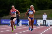 29 July 2018; Molly Scott of St. Laurence O'Toole A.C., Co. Carlow, right, and Sarah Murray of Fingallians A.C., Co. Dublin, competing in the Senior Women 100m event during the Irish Life Health National Senior T&F Championships Day 2 at Morton Stadium in Santry, Dublin. Photo by Sam Barnes/Sportsfile