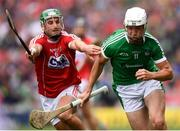 29 July 2018; Kyle Hayes of Limerick in action against Eoin Cadogan of Cork during the GAA Hurling All-Ireland Senior Championship semi-final match between Cork and Limerick at Croke Park in Dublin. Photo by Stephen McCarthy/Sportsfile