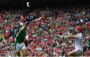 29 July 2018; Pat Ryan of Limerick in action against Anthony Nash of Cork during the GAA Hurling All-Ireland Senior Championship semi-final match between Cork and Limerick at Croke Park in Dublin. Photo by Ramsey Cardy/Sportsfile