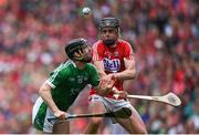 29 July 2018; Graeme Mulcahy of Limerick in action against Darragh Fitzgibbon of Cork during the GAA Hurling All-Ireland Senior Championship semi-final match between Cork and Limerick at Croke Park in Dublin. Photo by Ramsey Cardy/Sportsfile