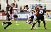 29 July 2018; Michael Duffy of Dundalk  in action against Daniel Kelly and Andy Lyons of Bohemians during the SSE Airtricity League Premier Division match between Dundalk and Bohemians at Oriel Park in Dundalk, Co Louth. Photo by Oliver McVeigh/Sportsfile