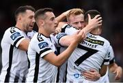29 July 2018; Seán Hoare of Dundalk celebrates with, from left, Brian Gartland, Dylan Connolly and Michael Duffy after scoring his sides first goal during the SSE Airtricity League Premier Division match between Dundalk and Bohemians at Oriel Park in Dundalk, Co Louth. Photo by Oliver McVeigh/Sportsfile