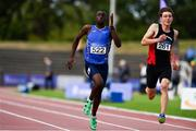 29 July 2018; Nelvin Appiah of Longford AC, Co. Longford, on his way to winning the Men 100m B event during the Irish Life Health National Senior T&F Championships Day 2 at Morton Stadium in Santry, Dublin. Photo by Sam Barnes/Sportsfile
