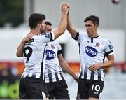 29 July 2018; Patrick Hoban of Dundalk, left, celebrates with team-mates Michael Duffy and Jamie McGrath, right, after scoring his sides second goal during the SSE Airtricity League Premier Division match between Dundalk and Bohemians at Oriel Park in Dundalk, Co Louth. Photo by Oliver McVeigh/Sportsfile