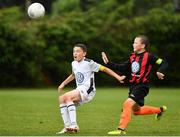 29 July 2018; Rhys Bartley of Crumlin United in action against Scott Brady of St Kevin's, during Ireland's premier underaged soccer tournament, the Volkswagen Junior Masters. The competition sees U13 teams from around Ireland compete for the title and a €2,500 prize for their club, over the days of July 28th and 29th, at AUL Complex in Dublin. Photo by Seb Daly/Sportsfile