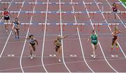 29 July 2018; Sarah Lavin of U.C.D. A.C., Co. Dublin, centre, crosses the line to win the Senior Women 100mH event during the Irish Life Health National Senior T&F Championships Day 2 at Morton Stadium in Santry, Dublin. Photo by Sam Barnes/Sportsfile