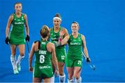 29 July 2018; Ireland players, from left, Yvonne O'Byrne, Nicola Evans, Elena Tice and Lizzie Colvin after the Women's Hockey World Cup Finals Group B match between England and Ireland at Lee Valley Hockey Centre, QE Olympic Park in London, England. Photo by Craig Mercer/Sportsfile