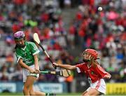 29 July 2018; Niamh Duffy, Coldwood National School, Craughwell, Co. Galway, representing Limerick, in action against Grace Kelly, St Mary's Draperstown, Magherafelt, Derry, representing Cork, during the INTO Cumann na mBunscol GAA Respect Exhibition Go Games at the GAA Hurling All-Ireland Senior Championship semi-final match between Cork and Limerick at Croke Park in Dublin. Photo by Ray McManus/Sportsfile