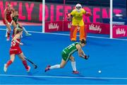 29 July 2018; Megan Frazer of Ireland has a shot on goal during the Women's Hockey World Cup Finals Group B match between England and Ireland at Lee Valley Hockey Centre, QE Olympic Park in London, England. Photo by Craig Mercer/Sportsfile