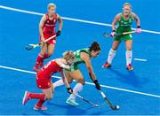 29 July 2018; Anna O'Flanagan of Ireland in action during the Women's Hockey World Cup Finals Group B match between England and Ireland at Lee Valley Hockey Centre, QE Olympic Park in London, England. Photo by Craig Mercer/Sportsfile