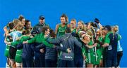 29 July 2018; The Ireland team huddle after the Women's Hockey World Cup Finals Group B match between England and Ireland at Lee Valley Hockey Centre, QE Olympic Park in London, England. Photo by Craig Mercer/Sportsfile