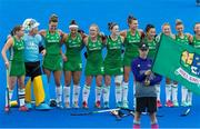 29 July 2018; Ireland players look happy during the anthems during the Women's Hockey World Cup Finals Group B match between England and Ireland at Lee Valley Hockey Centre, QE Olympic Park in London, England. Photo by Craig Mercer/Sportsfile