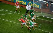 29 July 2018; Limerick goalkeeper Nickie Quaid makes a save from Seamus Harnedy of Cork in the final moments of the GAA Hurling All-Ireland Senior Championship semi-final match between Cork and Limerick at Croke Park in Dublin. Photo by Brendan Moran/Sportsfile