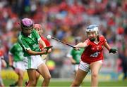 29 July 2018; Niamh Duffy, Coldwood National School, Craughwell, Co. Galway, representing Limerick, in action against Alison Donegan, Milford National School, Charleville, representing Cork, during the INTO Cumann na mBunscol GAA Respect Exhibition Go Games at the GAA Hurling All-Ireland Senior Championship semi-final match between Cork and Limerick at Croke Park in Dublin. Photo by Ray McManus/Sportsfile