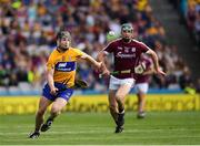 28 July 2018; Tony Kelly of Clare  in action against Cathal Mannion of Galway during the GAA Hurling All-Ireland Senior Championship semi-final match between Galway and Clare at Croke Park in Dublin. Photo by Ray McManus/Sportsfile