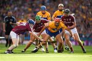 28 July 2018; Peter Duggan of Clare in action against Paul Killeen, 17, David Burke and Aidan Harte of Galway during the GAA Hurling All-Ireland Senior Championship semi-final match between Galway and Clare at Croke Park in Dublin. Photo by Ray McManus/Sportsfile