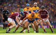 28 July 2018; Peter Duggan of Clare, supported by Shane O'Donnell, 15, and Seadna Morey, in action against Paul Killeen, 17, David Burke and Aidan Harte of Galway during the GAA Hurling All-Ireland Senior Championship semi-final match between Galway and Clare at Croke Park in Dublin. Photo by Ray McManus/Sportsfile