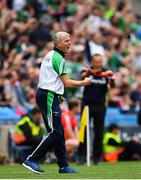 29 July 2018; Limerick manager John Kiely celebrates his side's third goal during the GAA Hurling All-Ireland Senior Championship semi-final match between Cork and Limerick at Croke Park in Dublin. Photo by Ramsey Cardy/Sportsfile