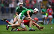 29 July 2018; Kyle Hayes of Limerick is tackled by Daniel Kearney of Cork during the GAA Hurling All-Ireland Senior Championship semi-final match between Cork and Limerick at Croke Park in Dublin. Photo by Ramsey Cardy/Sportsfile