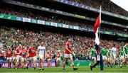 29 July 2018; Seamus Harnedy of Cork leads his side in the pre-match parade ahead of the GAA Hurling All-Ireland Senior Championship semi-final match between Cork and Limerick at Croke Park in Dublin. Photo by Ramsey Cardy/Sportsfile