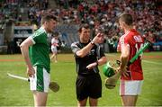 29 July 2018; Referee Paud O'Dwyer with team-captains Declan Hannon of Limerick and Séamus Harnedy of Cork before the GAA Hurling All-Ireland Senior Championship semi-final match between Cork and Limerick at Croke Park in Dublin. Photo by Piaras Ó Mídheach/Sportsfile