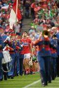 29 July 2018; Cork captain Séamus Harnedy leads his side in the parade behind the Artane School of Music Band before the GAA Hurling All-Ireland Senior Championship semi-final match between Cork and Limerick at Croke Park in Dublin. Photo by Piaras Ó Mídheach/Sportsfile