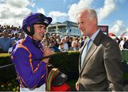 30 July 2018; Jockey Ruby Walsh, left, and trainer Willie Mullins after winning the Galmont.com & Galwaybayhotel.com Novice Hurdle woth Easy Game during the Galway Races Summer Festival 2018, in Ballybrit, Galway. Photo by Seb Daly/Sportsfile
