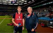 29 July 2018; Dr Con Murphy, right, and his son Dr Colm Murphy before the GAA Hurling All-Ireland Senior Championship semi-final match between Cork and Limerick at Croke Park in Dublin. Photo by Ray McManus/Sportsfile