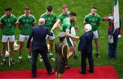 29 July 2018; President Michael D Higgins meets Limerick captain Declan Hannon prior to the GAA Hurling All-Ireland Senior Championship semi-final match between Cork and Limerick at Croke Park in Dublin. Photo by Brendan Moran/Sportsfile