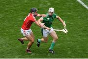 29 July 2018; Cian Lynch of Limerick is tackled by Darragh Fitzgibbon of Cork during the GAA Hurling All-Ireland Senior Championship semi-final match between Cork and Limerick at Croke Park in Dublin. Photo by Brendan Moran/Sportsfile