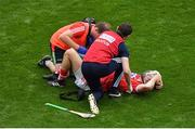29 July 2018; Seamus Harnedy of Cork receives medical attention during the GAA Hurling All-Ireland Senior Championship semi-final match between Cork and Limerick at Croke Park in Dublin. Photo by Brendan Moran/Sportsfile