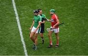 29 July 2018; Gearóid Hegarty of Limerick, Limerick coach Paul Kinnerk and Eoin Cadogan of Cork during the GAA Hurling All-Ireland Senior Championship semi-final match between Cork and Limerick at Croke Park in Dublin. Photo by Brendan Moran/Sportsfile