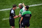 29 July 2018; Sideline official Sean Stack speaks to Limerick manager John Kiely and coach Paul Kennick during the GAA Hurling All-Ireland Senior Championship semi-final match between Cork and Limerick at Croke Park in Dublin. Photo by Brendan Moran/Sportsfile
