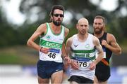 28 July 2018; Michael Clohisey of Raheny Shamrock A.C., Co. Dublin, left, and Kevin Maunsell of Clonmel A.C., Co. Tipperary, competing in the Senior Men 10000m event during the Irish Life Health National Senior T&F Championships Day 1 at Morton Stadium in Santry, Dublin. Photo by Sam Barnes/Sportsfile