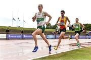 28 July 2018; Mark Kirwan of Raheny Shamrock A.C., Co. Dublin, left, Tomas Fitzpatrick of Tallaght A.C., Co. Dublin, centre, and Sean Hehir of Rathfarnham W.S.A.F. A.C., Co. Dublin, competing in the Senior Men 10000m event during the Irish Life Health National Senior T&F Championships Day 1 at Morton Stadium in Santry, Dublin. Photo by Sam Barnes/Sportsfile
