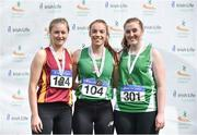 28 July 2018;  Senior Women Javelin medallists, from left, Grace Casey of Eire Og Corra Choill A.C., Co. Kildare, silver, Elizabeth Morland of Cushinstown A.C., Co. Meath, gold, and Laura Dolan of Ferbane A.C., Co. Offaly, bronze, during the Irish Life Health National Senior T&F Championships Day 1 at Morton Stadium in Santry, Dublin. Photo by Sam Barnes/Sportsfile