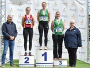 28 July 2018;  Senior Women Javelin medallists, from left, Grace Casey of Eire Og Corra Choill A.C., Co. Kildare, silver, Elizabeth Morland of Cushinstown A.C., Co. Meath, gold, and Laura Dolan of Ferbane A.C., Co. Offaly, bronze, alongside Jim Dowdall, Managing Director at Irish Life Health, far left, and Georgina Drumm, Athletics Ireland President, during the Irish Life Health National Senior T&F Championships Day 1 at Morton Stadium in Santry, Dublin. Photo by Sam Barnes/Sportsfile