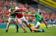29 July 2018; Patrick Horgan of Cork in action against Seán Finn, left, and Mike Casey of Limerick during the GAA Hurling All-Ireland Senior Championship semi-final match between Cork and Limerick at Croke Park in Dublin. Photo by Piaras Ó Mídheach/Sportsfile